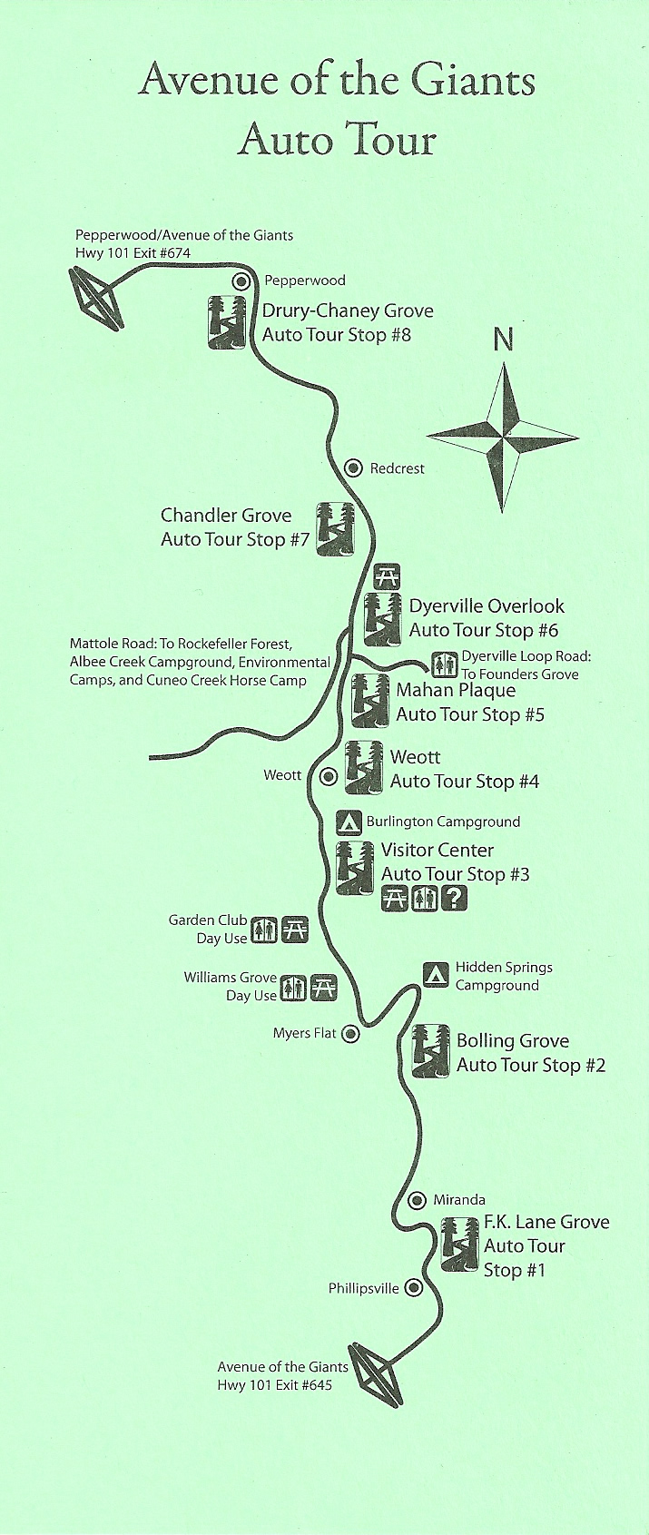 Avenue Of The Giants Auto Tour Map